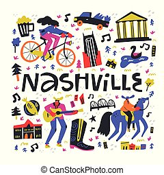 Nashville lettering with hand drawn
