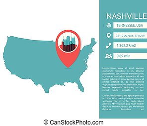 Nashville map infographic vector illustration