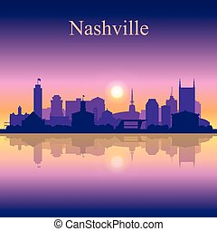 Nashville silhouette on sunset background