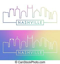 Nashville skyline. Colorful linear style.