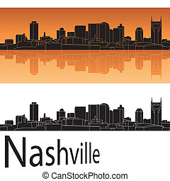 Nashville skyline in orange background in editable vector file