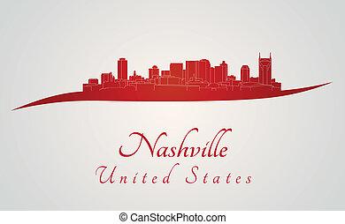 Nashville skyline in red