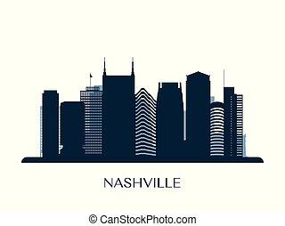 Nashville skyline, monochrome silhouette.