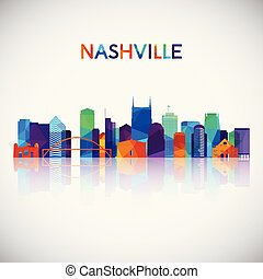 Nashville skyline silhouette in colorful geometric style.