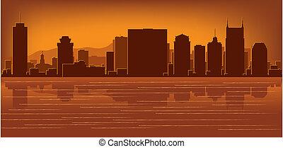 nashville, skyline, tennessee