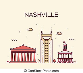 Nashville skyline Tennessee USA vector linear city