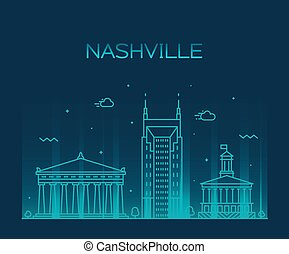 Nashville skyline Tennessee USA vector linear city