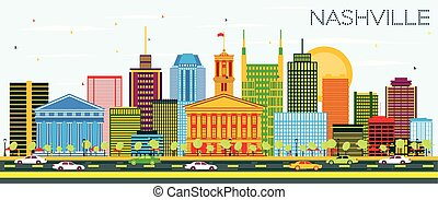Nashville Skyline with Color Buildings and Blue Sky.