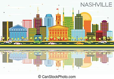 Nashville Skyline with Color Buildings, Blue Sky and Reflections. Vector Illustration. Business Travel and Tourism Concept with Modern Architecture. Image for Presentation Banner and Web Site.