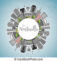 Nashville Skyline with Gray Buildings, Blue Sky and Copy Space.