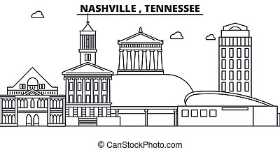Nashville , Tennessee architecture line skyline illustration. Linear vector cityscape with famous landmarks, city sights, design icons. Editable strokes