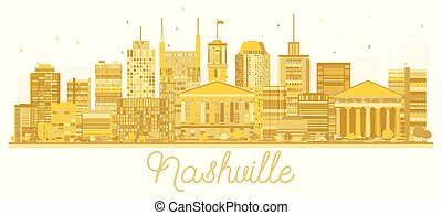 Nashville Tennessee City Skyline Golden Silhouette.