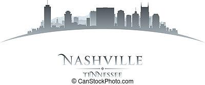 Nashville Tennessee city skyline silhouette white background...