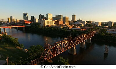 nashville, tennessee, downtown, stad skyline, architectuur,...