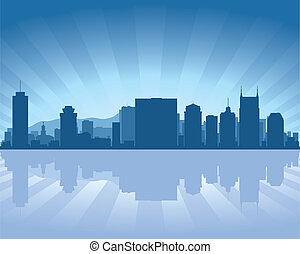 Nashville, Tennessee skyline with reflection in water