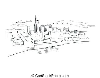 Nashville Tennessee usa America vector sketch city illustration line art