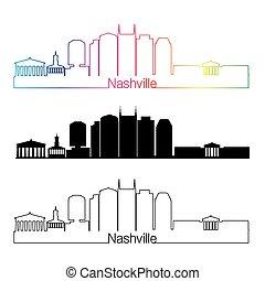 Nashville V2 skyline linear style with rainbow