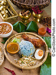 Nasi Kerabu , a traditional east coast blue rice, Famous in...