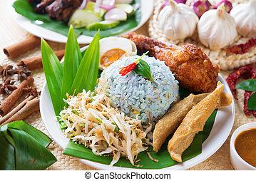Nasi kerabu or nasi ulam, popular Malaysian Malay rice dish....