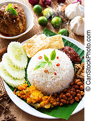 Nasi lemak traditional malaysian spicy rice dish, fresh...