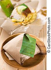 Nasi lemak traditional Malaysian breakfast