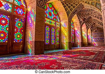 Nasir Al-Mulk Mosque praying room atmosphere - Atmosphere in...