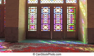 Nasir Al-Mulk Mosque windows - Colored windows of the...