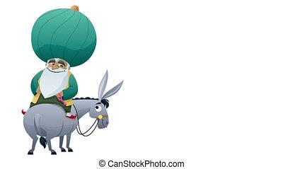 Nasreddin Hodja Isolated - Cartoon of Nasreddin Hodja on his...