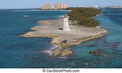 View of Harbor Lighthouse on Paradise Island in Nassau, Bahamas