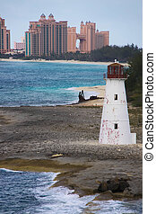 Nassau Harbour Lighthouse in Bahamas and view of Atlantis...