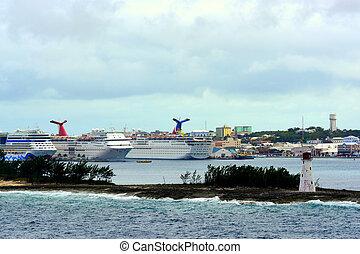 Nassau port under stormy skies