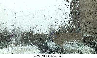 nasse, schnee, glas