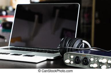 nastavení, zapisovat vybavení, počítač, ateliér, domů, hudba