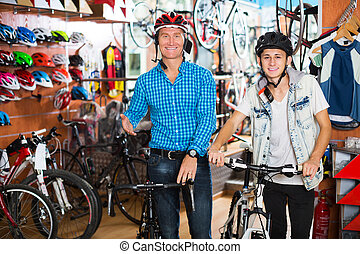 nastolatek, nowy, ojciec, trudny, rower