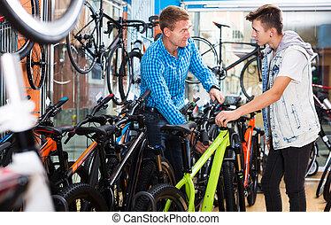 nastolatek, trudny, ojciec, rower, nowy