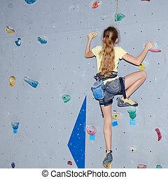 nastolatek, wspinaczkowy, niejaki, skała ściana