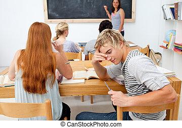 nastolatki, razem, badając, klasa