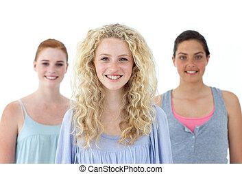 nastolatki, tło, piękny, trzy, biały, szczelnie-do góry