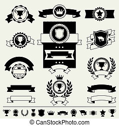 nastri, bandiere, premi, labels., trofei