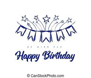 nastri, felice, stars., bandiere, congratulazioni, mano, illustrazione, scarabocchiare, vettore, compleanno, stile, fireworks, disegnato