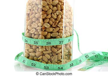 nastro, 2, vaso, arachidi, misura