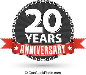 nastro, 20, anniversario, illustrazione, etichetta, vettore...