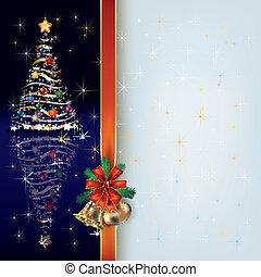 nastro, albero, augurio, regalo, natale