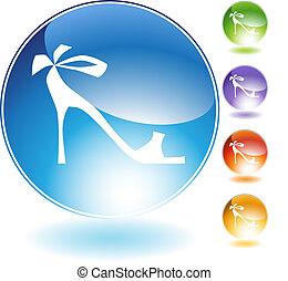 nastro, alto, cristallo, scarpa, tallone, icona