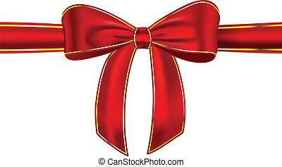 nastro, baluginante, rosso, arco regalo