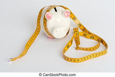 nastro, banca piggy, misura