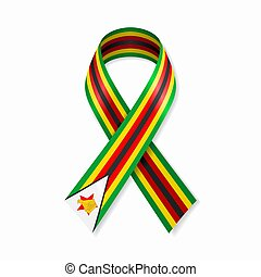nastro, bandiera, bianco, zimbabwean, illustration., vettore, fondo., striscia
