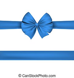 nastro blu, isolato, bianco, fondo., bello, festivo, bow., vettore