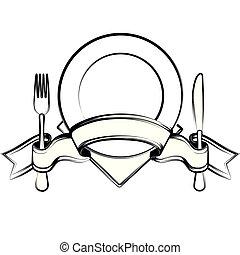 nastro, coltello, piastra, forchetta, cucchiaio