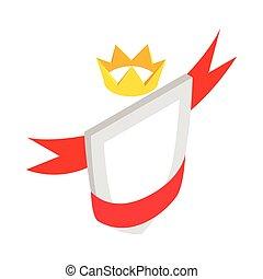 nastro, corona, scudo, rosso, icona
